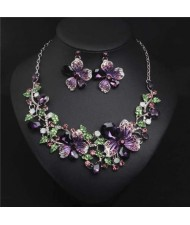 Crystal Graceful Flowers Bridal Fashion Bib Necklace and Earrings Set - Purple