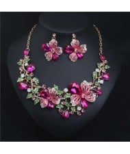 Crystal Graceful Flowers Bridal Fashion Bib Necklace and Earrings Set - Rose