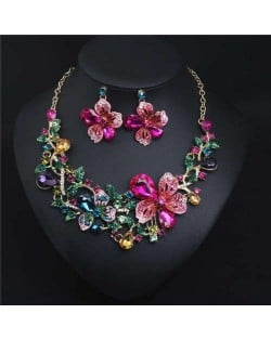 Crystal Graceful Flowers Bridal Fashion Bib Necklace and Earrings Set - Multicolor