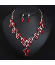 Luxurious Style Floral Design Crystal Fashion Women Statement Bib Necklace and Earrings Set - Red