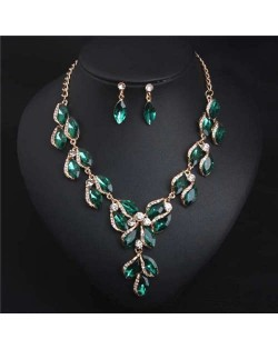 Luxurious Style Floral Design Crystal Fashion Women Statement Bib Necklace and Earrings Set - Green