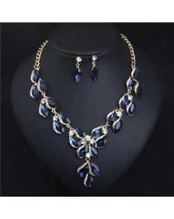 Luxurious Style Floral Design Crystal Fashion Women Statement Bib Necklace and Earrings Set - Blue