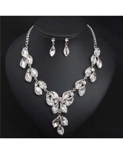 Luxurious Style Floral Design Crystal Fashion Women Statement Bib Necklace and Earrings Set - White