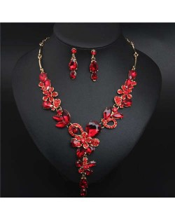 Graceful Floral Design Spring Fashion Women Statement Bib Necklace and Earrings Set - Red