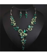 Graceful Floral Design Spring Fashion Women Statement Bib Necklace and Earrings Set - Green