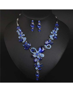 Graceful Floral Design Spring Fashion Women Statement Bib Necklace and Earrings Set - Blue