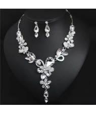 Graceful Floral Design Spring Fashion Women Statement Bib Necklace and Earrings Set - White