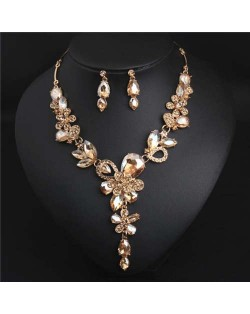 Graceful Floral Design Spring Fashion Women Statement Bib Necklace and Earrings Set - Champagne