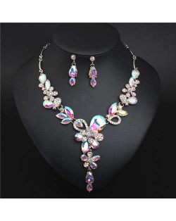 Graceful Floral Design Spring Fashion Women Statement Bib Necklace and Earrings Set - Colorful White
