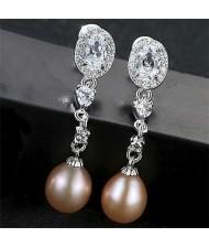 Cubic Zirconia Natural Pearl Fashion Gorgeous Dangling 925 Sterling Silver Women Earrings