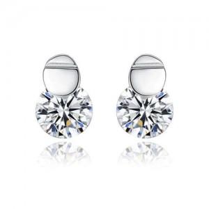 Cubic Zirconia Embellished Simple Fashion 925 Sterling Silver Women Earrings