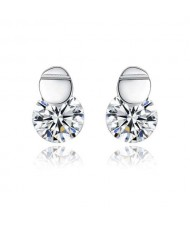 Cubic Zirconia Embellished Simple Fashion 925 Sterling Silver Women Earrings