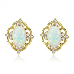 2 Colors Available Gem Inlaid Floral Hollow Design 925 Sterling Silver Women Earrings