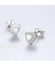 3 Colors Available Delicate Gem and Cubic Zirconia Embellished Triangle Shape 925 Sterling Silver Women Earrings