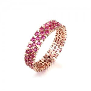 Ruby Inlaid High Fashion Delicate 925 Sterling Silver Women Ring