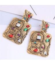 Multicolor Rhinestone Vintage Inlaid Square Folk Style Fashion Women Alloy Earrings - Golden
