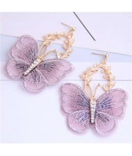 Embroidery Butterfly High Fashion Women Dangling Earrings - Violet
