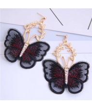 Embroidery Butterfly High Fashion Women Dangling Earrings - Black