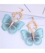 Embroidery Butterfly High Fashion Women Dangling Earrings - Blue