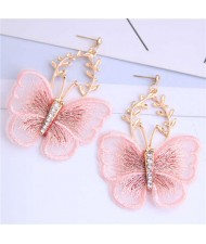 Embroidery Butterfly High Fashion Women Dangling Earrings - Pink