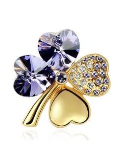 Austrian Crystal and Czech Stones Four Leaf Clover Gloden Brooch - Amethyst