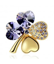 Austrian Crystal and Czech Stones Four Leaf Clover Gloden Brooch - Amethyst