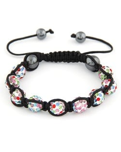 Rhinestone Ball Weaving Bracelet - Multicolor