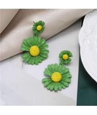 Sweet Daisy Design Korean Fashion Women Alloy Statement Earrings - Green
