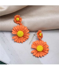 Sweet Daisy Design Korean Fashion Women Alloy Statement Earrings - Orange