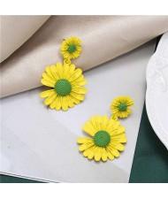 Sweet Daisy Design Korean Fashion Women Alloy Statement Earrings - Yellow