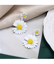 Sweet Daisy Design Korean Fashion Women Alloy Statement Earrings - White