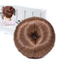 Hair Buns Style Synthetic Hair Korean Fashion Women Hair Band - Brown