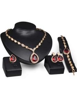 Ruby Embellished 4pcs Bridal Fashion Golden Women Jewelry Set