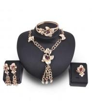 Graceful Floral Design Chain Tassel 4pcs High Fashion Women Costume Jewelry Set