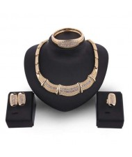 Rhinestone Embellished Wedding Fashion Bib Necklace 4pcs Alloy Golden Jewelry Set