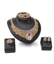 Purple Rhinestone Inlaid Hollow High Fashion Bib Neckalce Design 4pcs Alloy Women Golden Jewelry Set