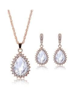 Rhinestone Inlaid Gorgeous Waterdrop Design 2pcs Alloy Women Golden Jewelry Set