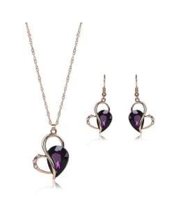 Rhinestone Inlaid Artistic Style Heart Design High Fashion 2pc Golden Alloy Women Jewelry Set - Purple