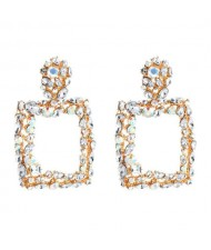 Shining Rhinestone Square High Fashion Bold Style Women Statement Shoulder-duster Earrings - Transparent