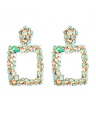 Shining Rhinestone Square High Fashion Bold Style Women Statement Shoulder-duster Earrings - Green