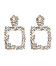 Shining Rhinestone Square High Fashion Bold Style Women Statement Shoulder-duster Earrings - Blue