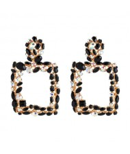 Shining Rhinestone Square High Fashion Bold Style Women Statement Shoulder-duster Earrings - Black