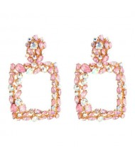 Shining Rhinestone Square High Fashion Bold Style Women Statement Shoulder-duster Earrings - Pink