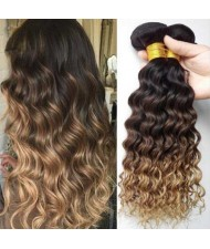 Deep Wave Color 1B/4/27 Brazilian Hair Virgin Human Hair 1 Bundle