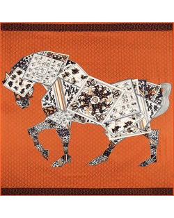 6 Colors Available Abstract Horse Design 130*130 cm Artificial Silk Square Women Scarf
