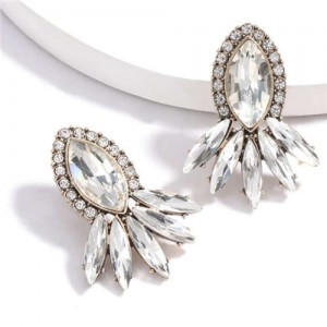 Geometric Rhinestone Floral Design Women Costume Earrings - White