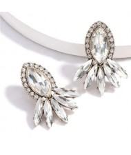 Geometric Rhinestone Floral Design Women Costume Earrings - White