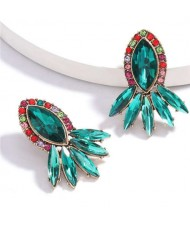 Geometric Rhinestone Floral Design Women Costume Earrings - Green