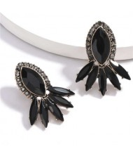 Geometric Rhinestone Floral Design Women Costume Earrings - Black