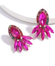 Geometric Rhinestone Floral Design Women Costume Earrings - Rose